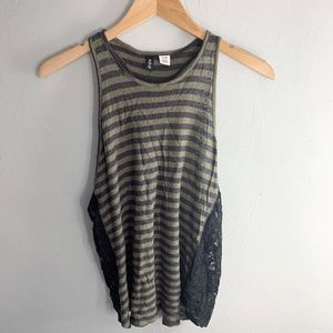 BDG Olive Green & Black Lace Tank Top